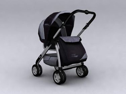 The black four round hand pushes the baby carriage