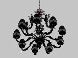 Glass, carved iron chandelier