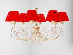 European style red metal chandelier