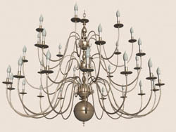 Continental Iron metallic glass chandelier