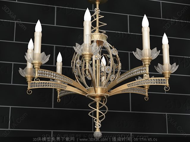 Lotus-like metal chandelier