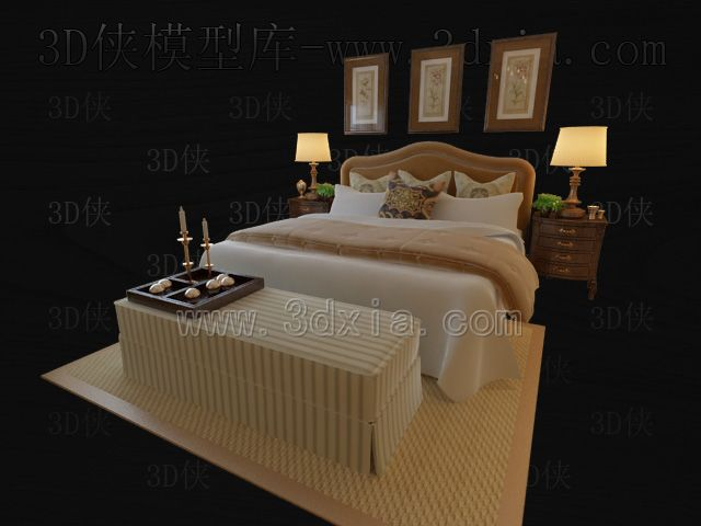 Double beds with lamps 3D models-10