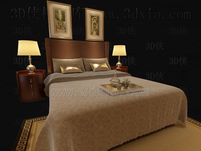 Double beds with lamps 3D models-11