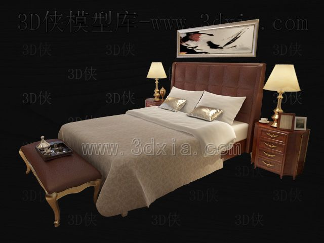 Double beds with lamps 3D models-12