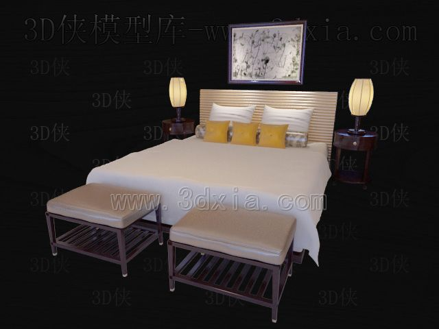 Double beds with lamps 3D models