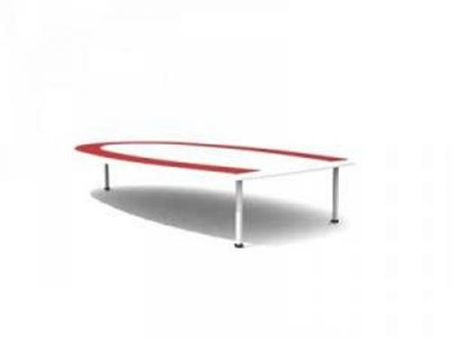 Red U-shaped conference table