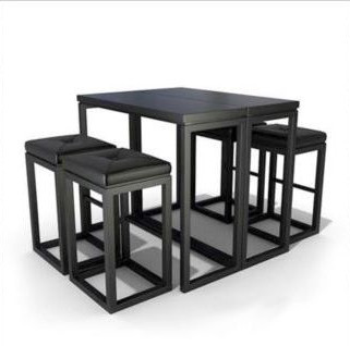 Black casual combination of tables and chairs