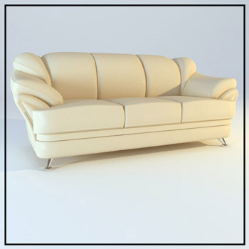 Comfort beige leather sofa