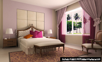 Simple and elegant bedroom model
