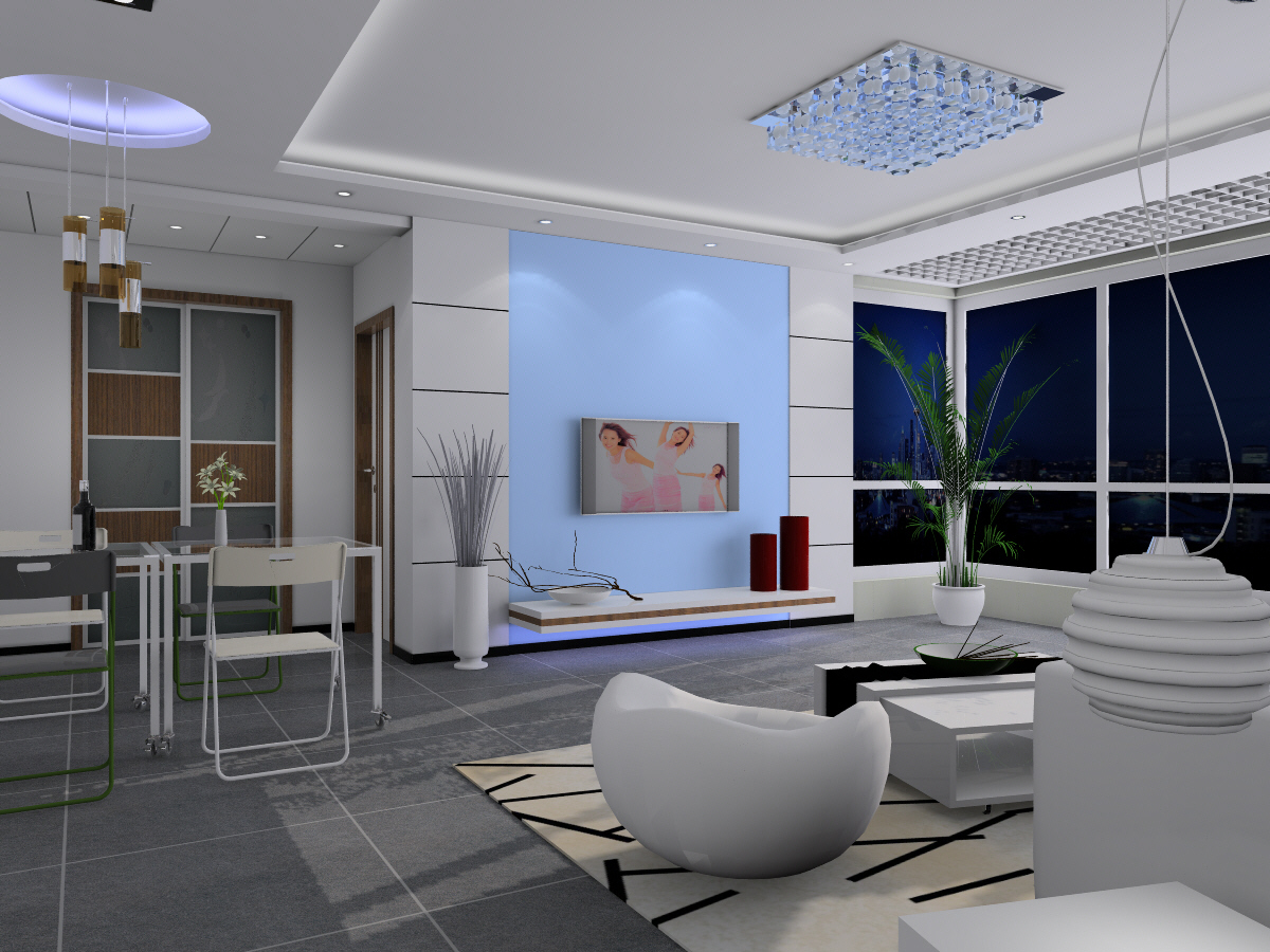 Bright and spacious modern living room 3d models 3d model for Design your living room online 3d
