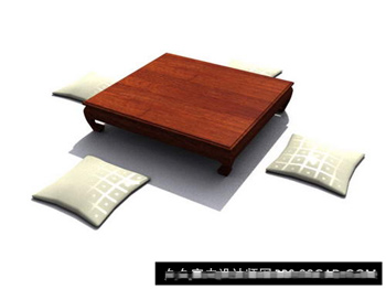3D Model of wood couch table