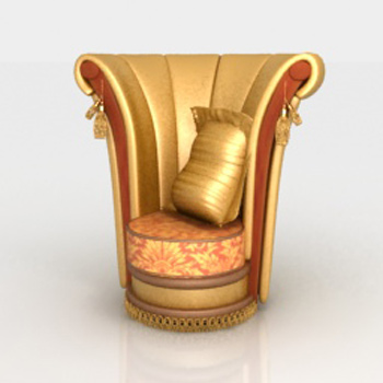 3D Model of Arab gold high-backed chairs
