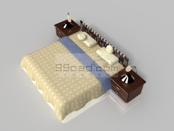 Simple Home Double bed 3D Model Download