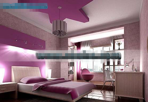 Purple pentacle style bedroom 3d model download free 3d models download - Modele de deco chambre ...