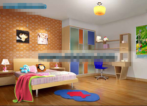 Kids Bedroom Model orange lovely children's bedroom 3d model download,free 3d models