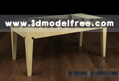 Simple wooden tea table 3D model