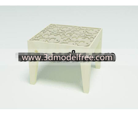 Solid wooden carved low stool
