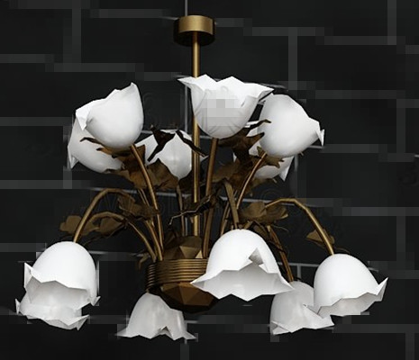 White lily potted metal Pendant