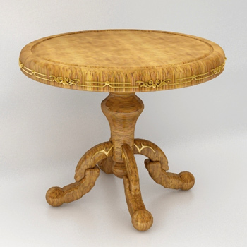 European-style wooden table 3D Model