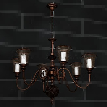 Retro bronze white chandelier