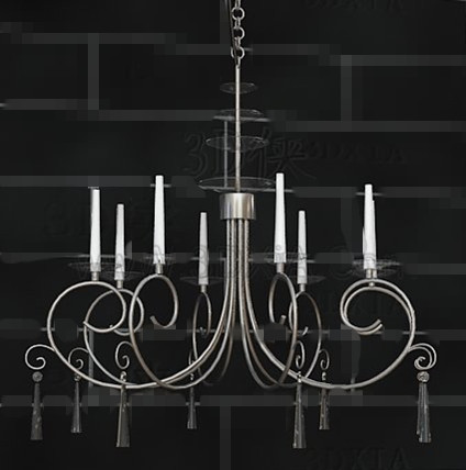 Silver frame white candles chandelier