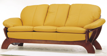European-style yellow leather sofa