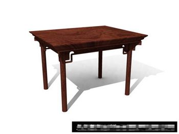 3D Model of Chinese solid wood tables