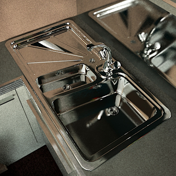 3D model of multi-slot stainless steel sink