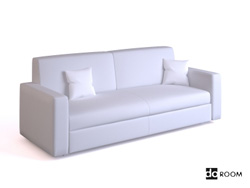 Simple white double seats sofa