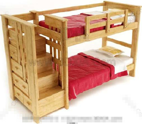 Red timber double Children Bed