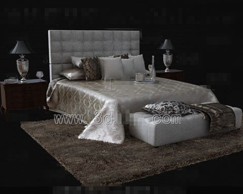 Silver brown luxury double bed