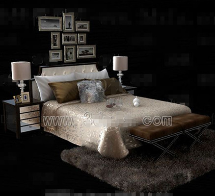 Silver yellow theme double bed