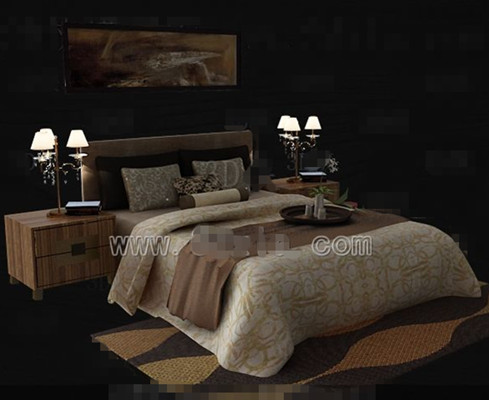 . Brown theme simple double bed 3D Model Download Free 3D Models Download