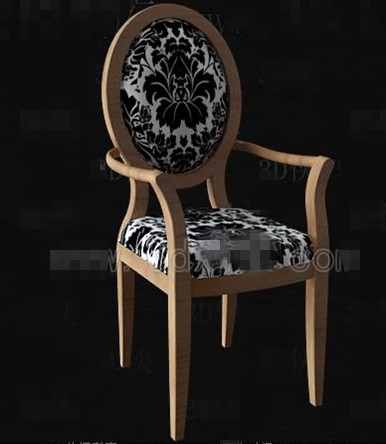 Black and white fabric wooden chair