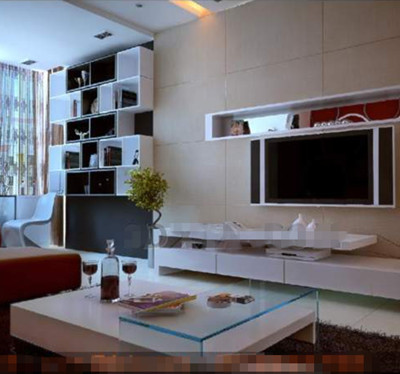 Modern stylish minimalist theme TV wall