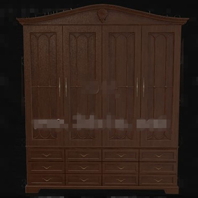 Brown three layers drawers wooden wardrobe