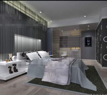 Modern Minimalist Silver Gray Bedroom : Modern minimalist silver-gray bedroom 3D Model Download,Free 3D Models ...