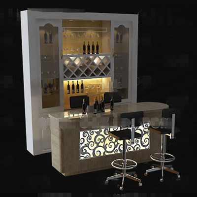 White with counter wine cabinet