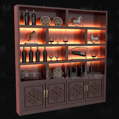 Red Wooden Chinese Style Wine Cabinet 3d Model Download