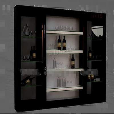 Black glass doors wine cabinet