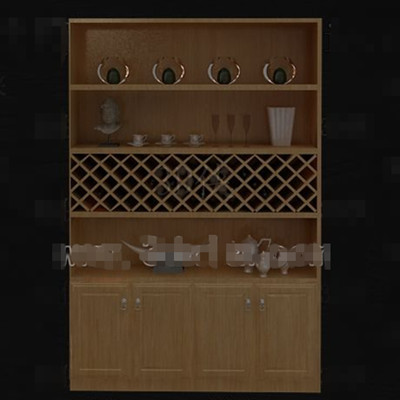 Four layers wooden wine cabinet