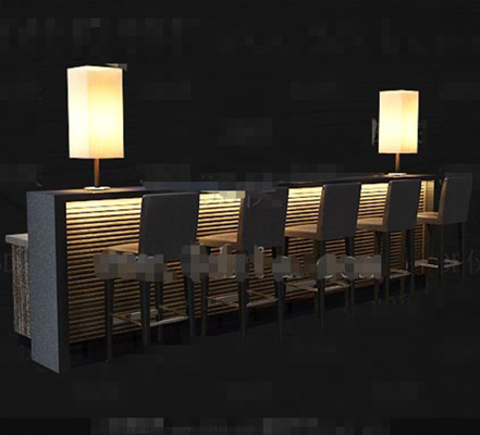 Yellow light leisure wine bar 3d model download free 3d for Food bar 3d model
