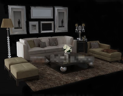 Warm and comfortable beige sofa combination