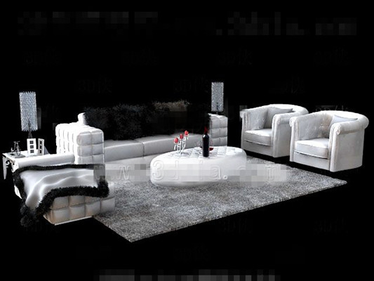 White fur sofa tea table combination