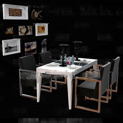 Black metal frame dining table combination 3d model for Table design 3d model