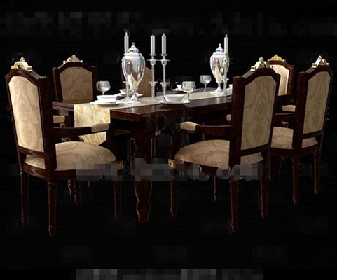 Retro Brown Yellow Long Dining Table And Chairs 3d Model