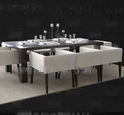 Dark long dining table combination 3D Model DownloadFree 3D