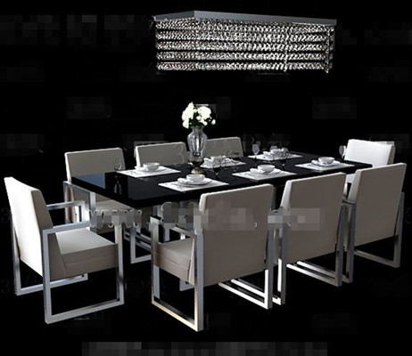 Long black dining table combination 3D Model DownloadFree 3D