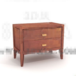 Brown two-tier drawers bedside cabinet