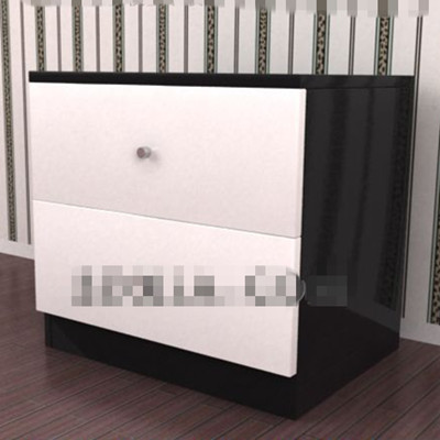 Black and white simple bedside cabinet